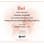 ESRI Course Completion Certificate